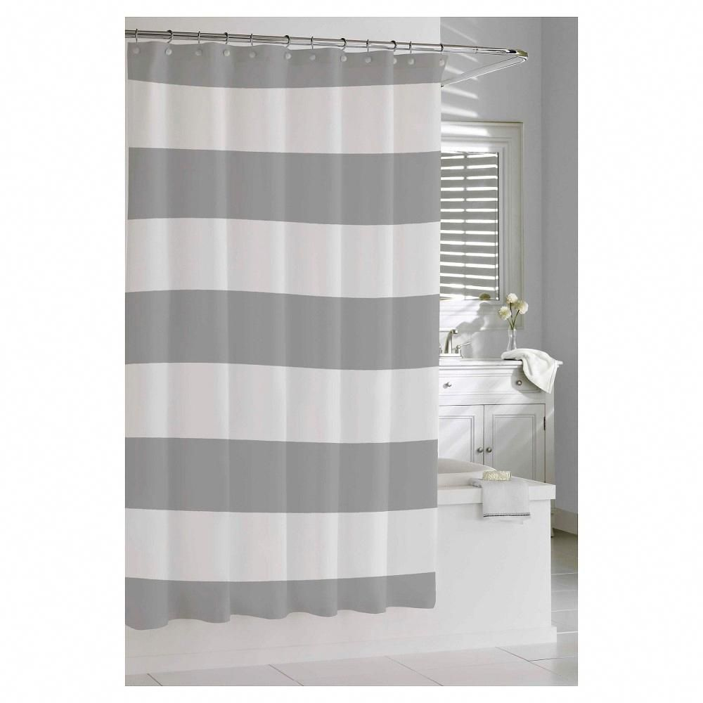 Stripe Shower Curtain Gray Cassadecor With Images Gray