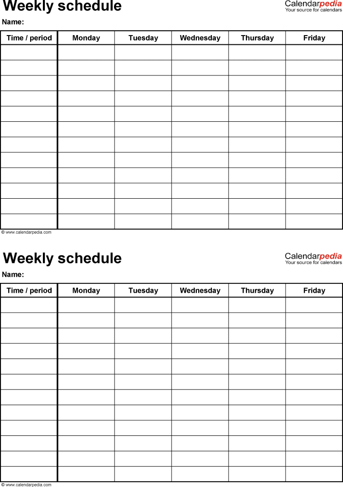 weekly schedule template for pdf version 4  2 schedules on