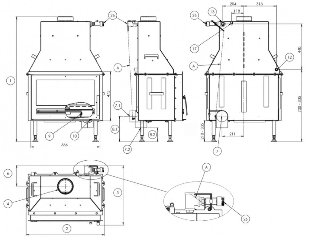 Section Drawing Wood Burning Stove