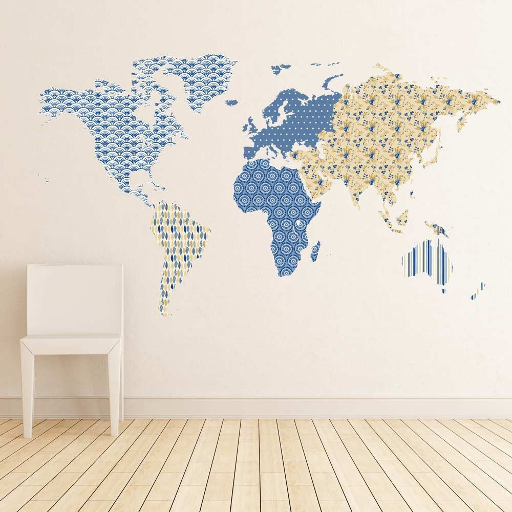 Patterned world map wall sticker wall sticker blank walls and walls patterned world map wall sticker publicscrutiny Images