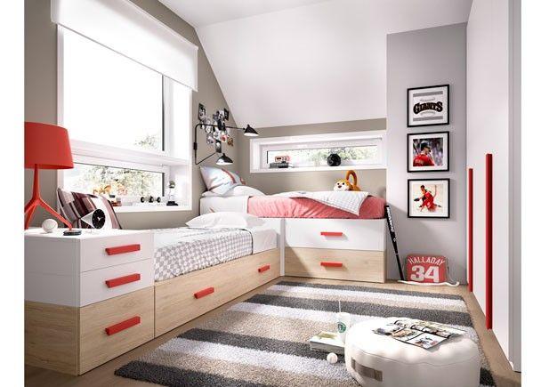 Dormitorio juvenil modular con 2 camas extra bles - Habitaciones infantiles con dos camas ...
