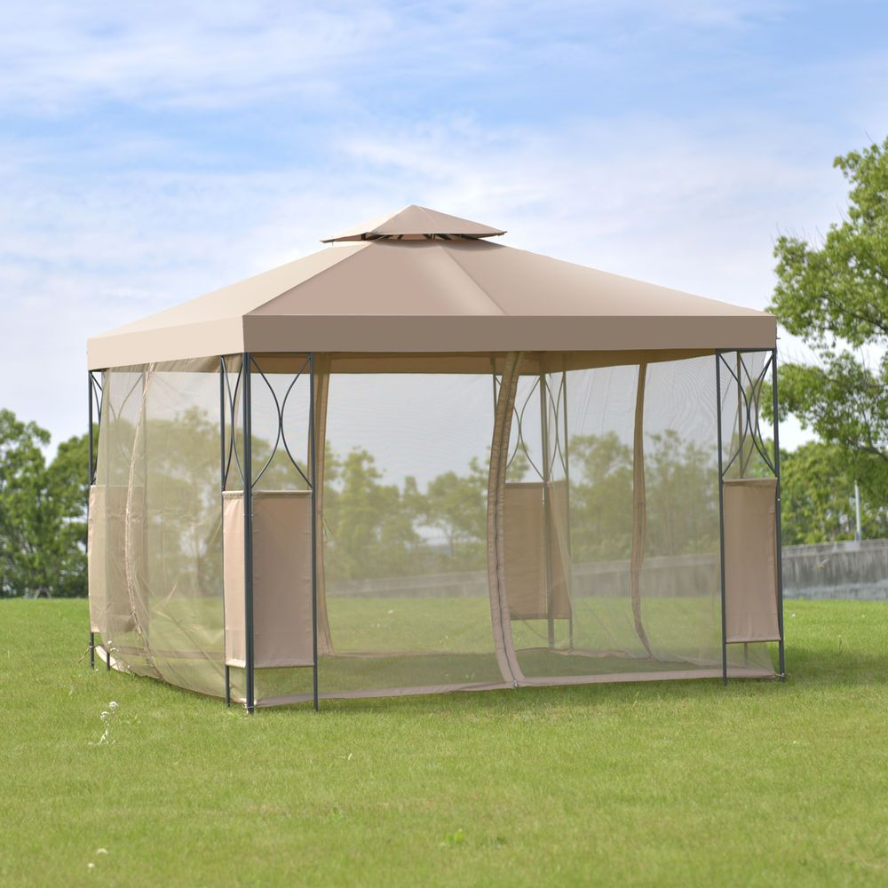 2 Tier 10 X10 Gazebo Canopy Tent Shelter Awning Steel Patio Garden Brown Cover Unbranded Gazebo Canopy Canopy Outdoor Gazebo