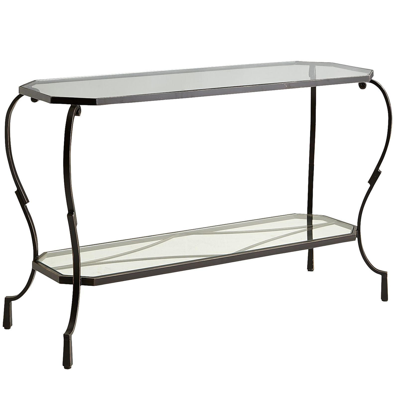 Glass console table with shelf chasca glass top brown console table  console tables consoles and