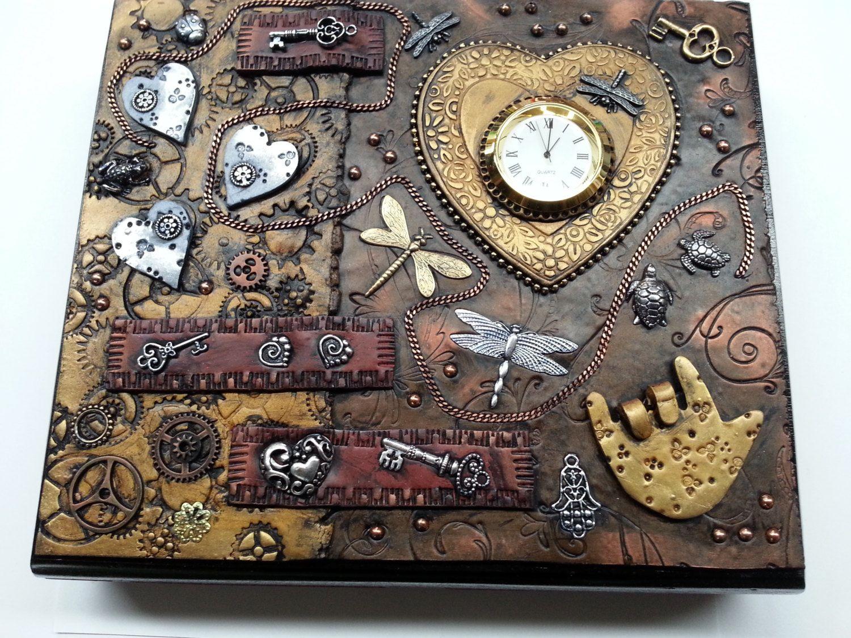 Steampunk Inspired Polymer Clay Covered Cigar Box by LynneManning