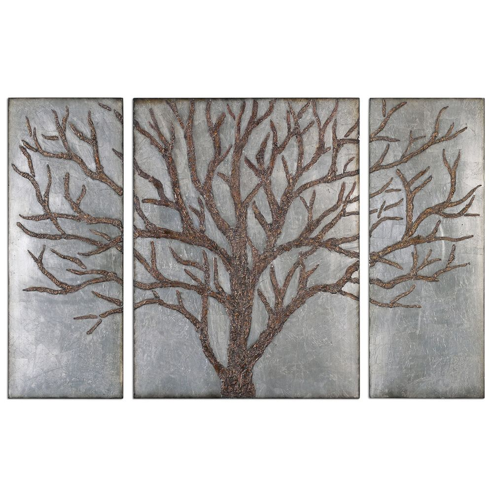 silver and bronzed tree of life wall art - rustic retreat | cozy