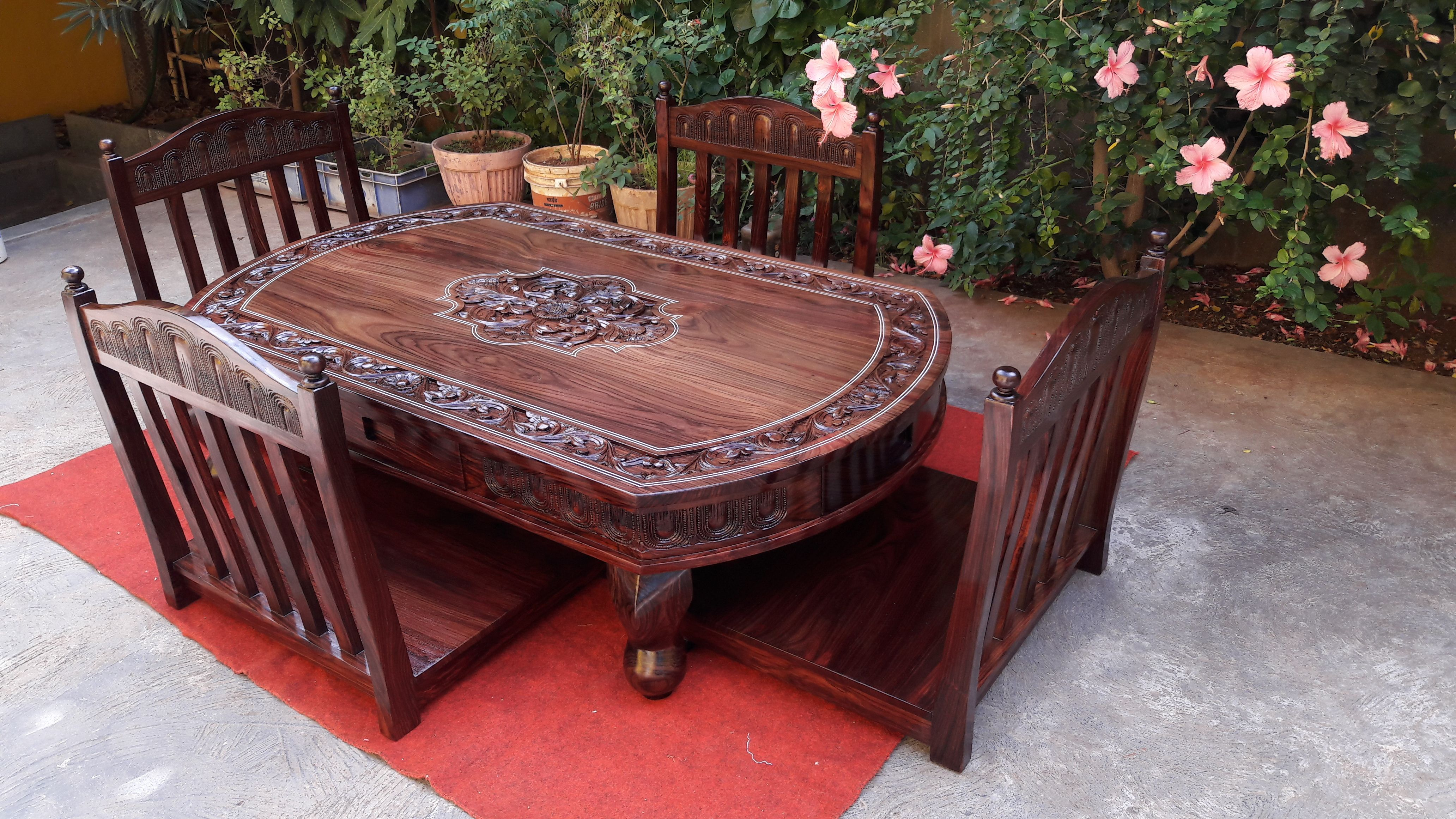 Rosewood Low Height Dining Table Rosewood Art Craft Furniture