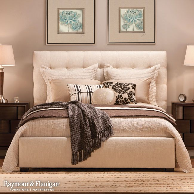 Trending now Fabric, button-tufted headboards! Home Decor