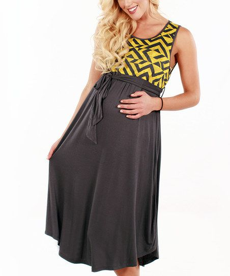 Gray Yellow Abstract Maternity Empire Waist Dress Zulily Grey Maternity Dresses Empire Waist Dress Solid Maxi Dress