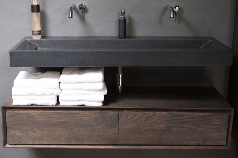 Wastafelmeubel Zonder Kraangat : Bellezza basalt wastafel zonder kraangat cm bwh design bellezza