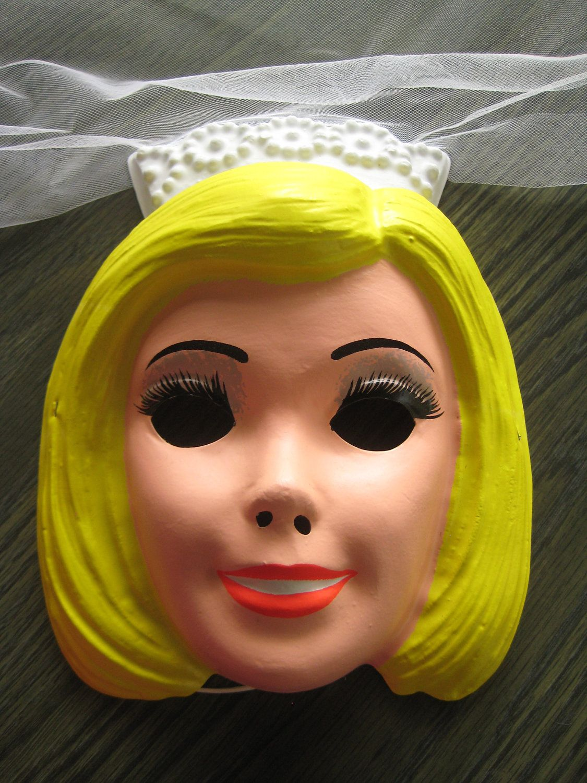 Barbie Bride Costume and Mask, ben cooper, dress and veil, vintage ...