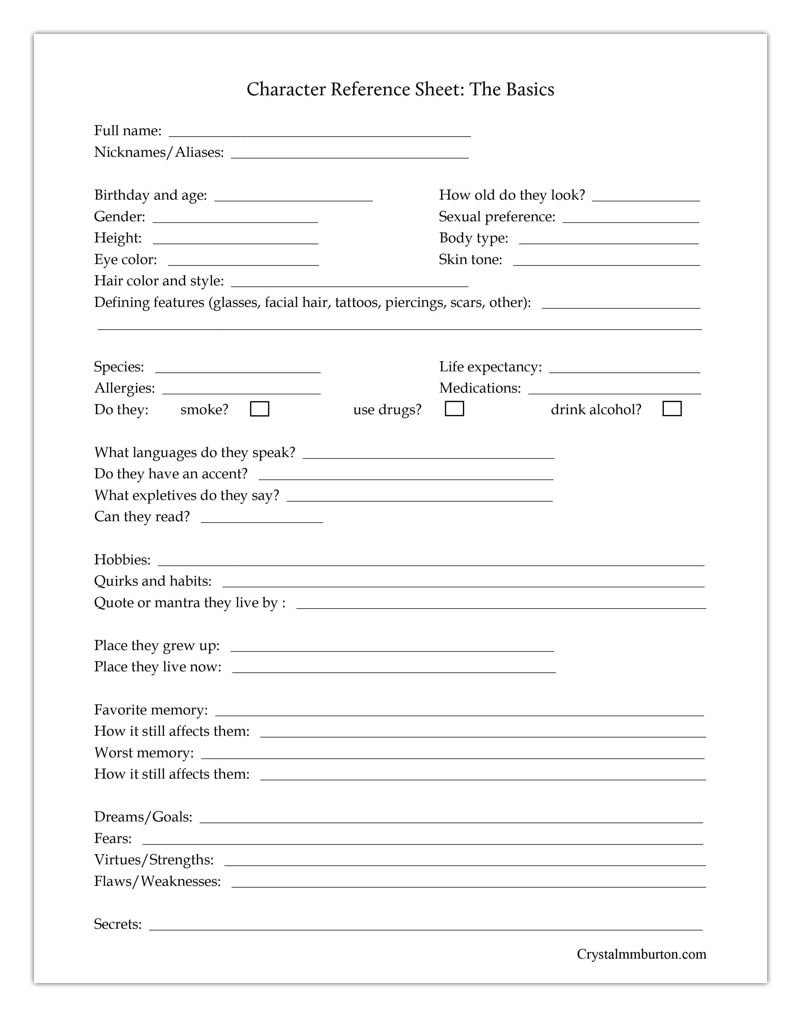 Free Printables To Help You Round Out Your Characters