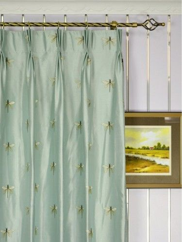 Embroidered Dragonflies Triple Pinch Pleat  Silk Curtains.  An unique and stylish addition to your home decor.