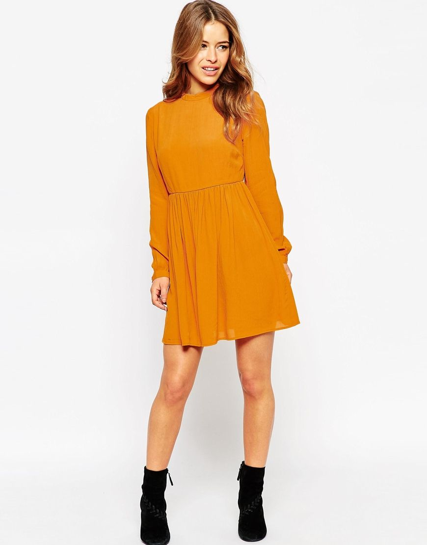 87d7285b3e Image 4 of ASOS PETITE Skater Dress with Lace Up Back