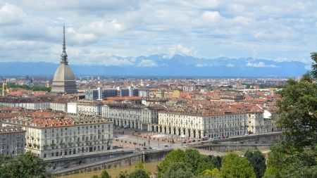 panoramic view of turin italy - mountains, panorama, view, city, clouds