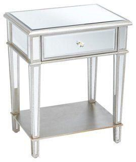 Roosevelt Mirrored Nightstand, Silver -- This bedside table is the epitome of Hollywood Regency glamour. Glimmering with an antiqued silver finish and mirrored panels, it offers a bottom shelf as well as a drawer.  Shop the rest of these French country style favorites here to get the look!