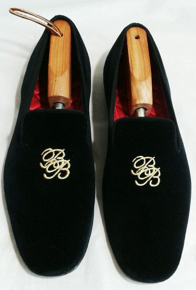16e5a94fcabd6 Brooks Brothers Men s Black Velvet Logo Slippers 11.5D MSRP  298 Made in  England