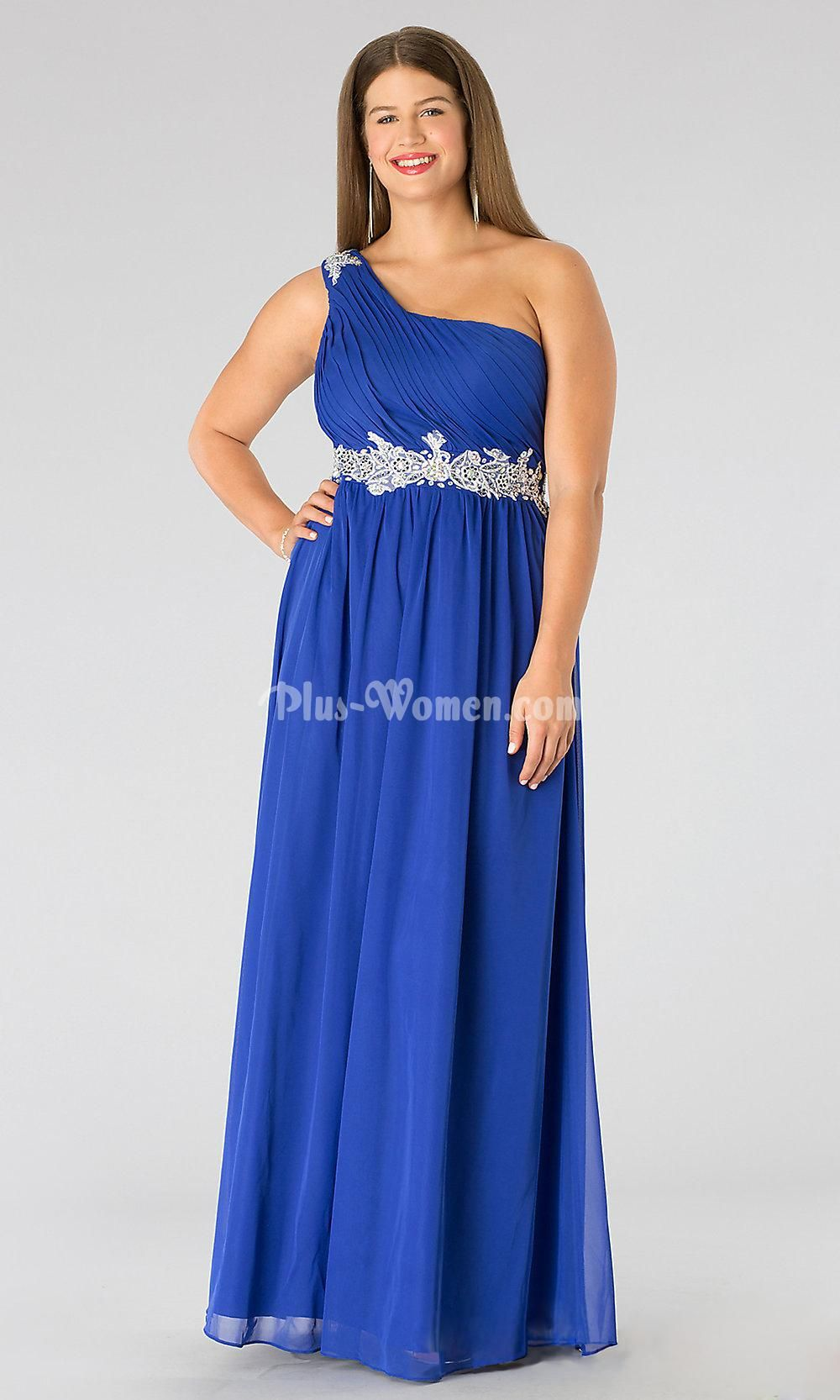 One shoulder ruched royal blue chiffon plus size formal prom dress