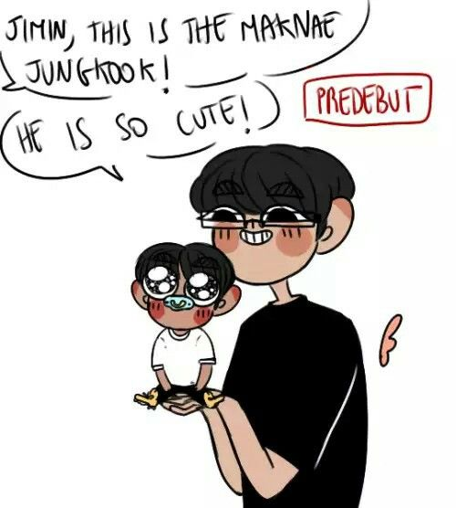 Baby Kookie with Jiminie is one of the most adorable concepts ever