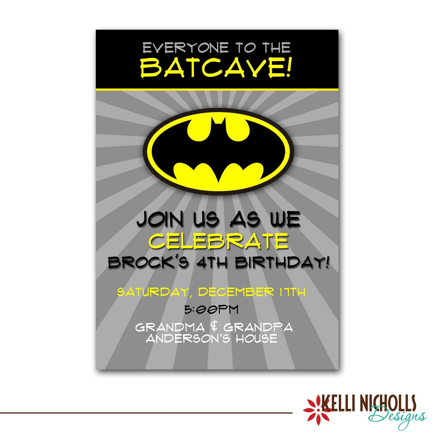 Batman Birthday Party Invitation, Custom Printable Boy Superhero ...