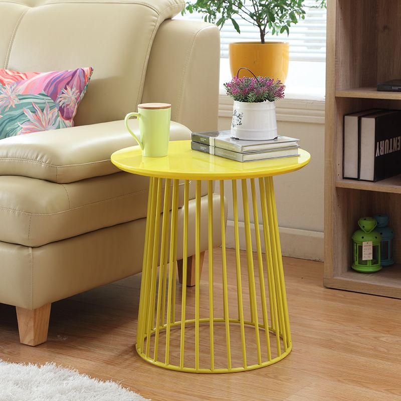 Metal Creative Simple Round Tea Coffee Table Movable Side Table