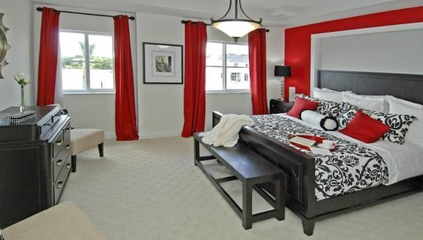 red, white, black, grey bedroom - Google Search | Rote