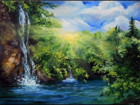 Waterfall With Sunrise Speed Oil Painting With Svetlana Kanyo Landscape Art Landscape Paintings Oil Painting Demos