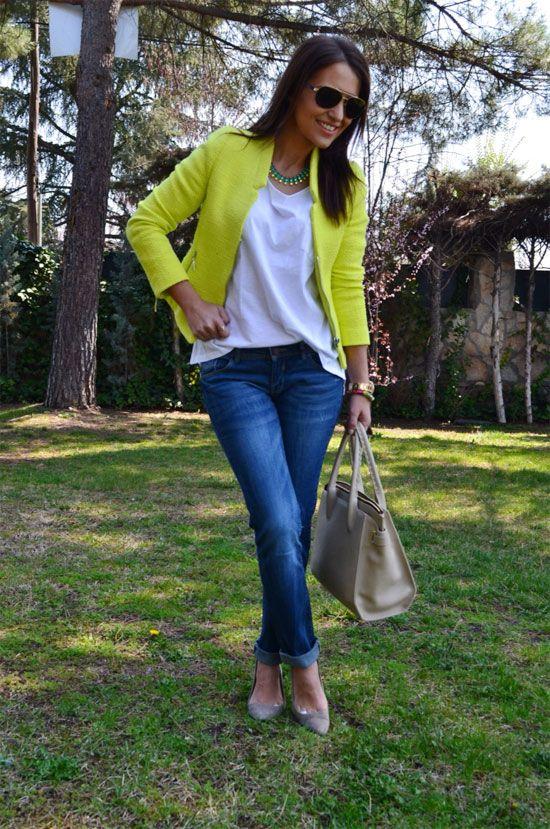 Blazer mujer verde limon