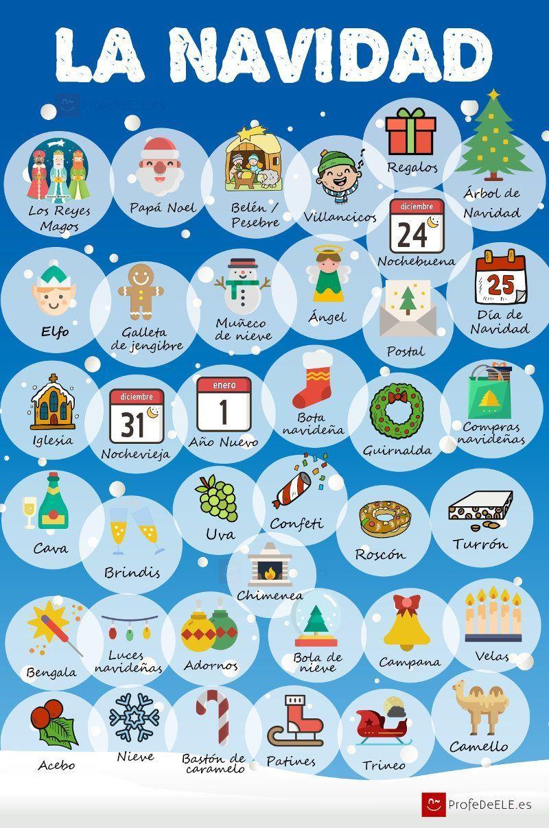 Vocabulario de la Navidad   ProfeDeELE.es   Spanish   Pinterest ...