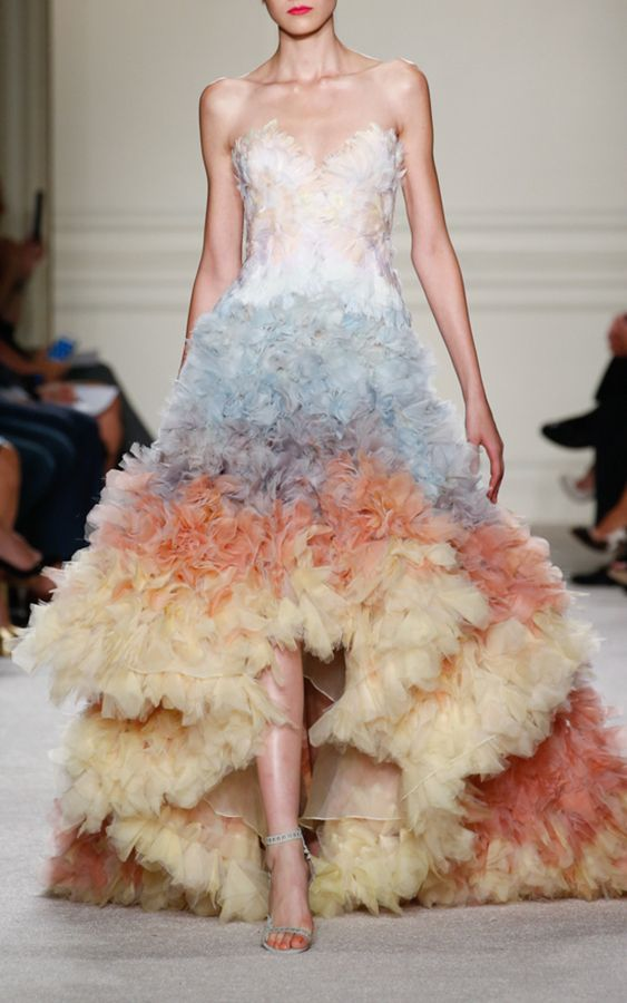 Marchesa Pastel Ombre Strapless High-Low Gown