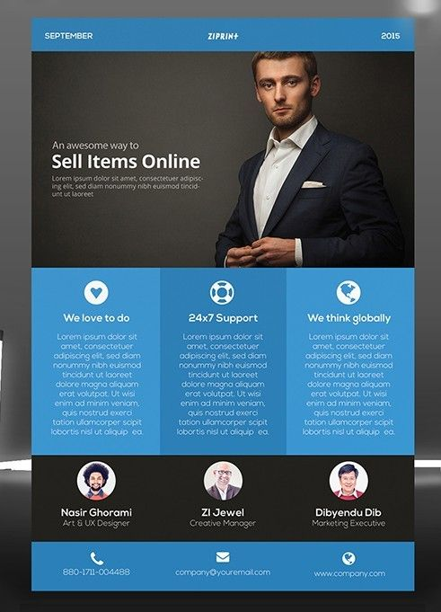 Flat Blue Corporate Flyer Template PSD Free Web Graphic Design - business pamphlet templates free