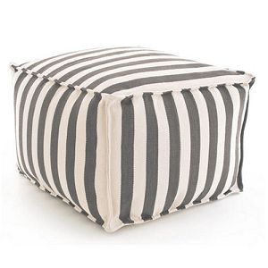 Fresh American Trimaran Stripe Graphite/Ivory Indoor/Outdoor Pouf