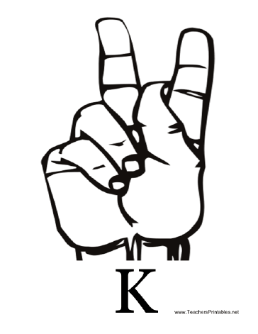 Diagram of a hand signing the letter K along with the