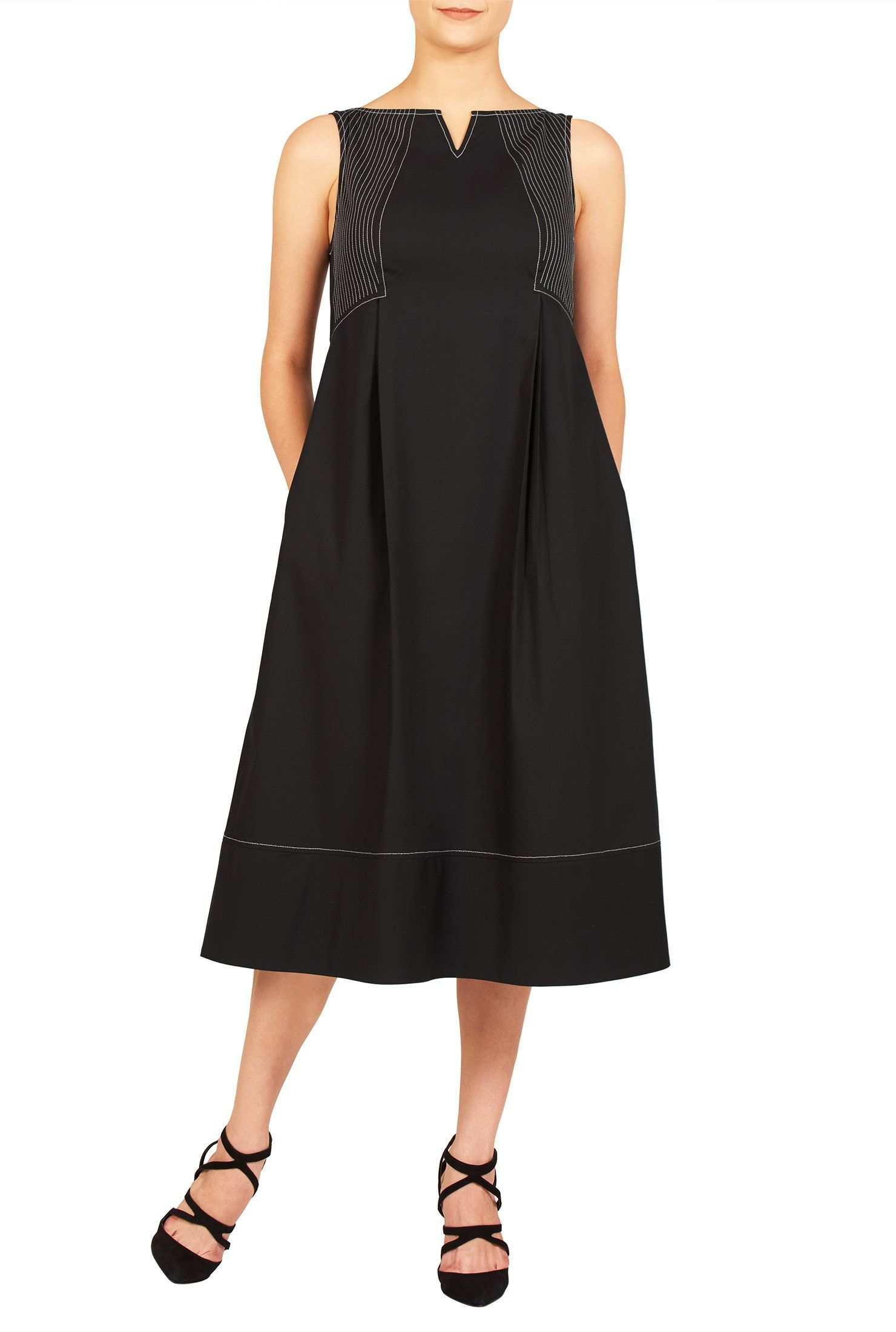 Eshakti womenus seamed cotton poplin dress l short blackgray