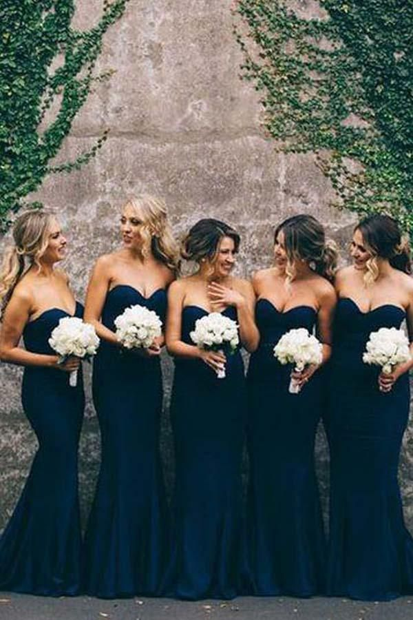 Bridesmaid Dresses Blue For Navy Mermaid Cute