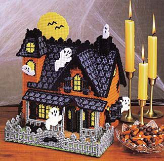 Enchanted Cottage ~ Gingerbread House /& Ribbon Candy plastic canvas patterns
