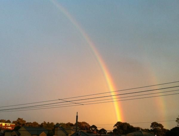 Double rainbow - double the gold, Melbourne  Courtesy of:@dxncxn  23/06/2012