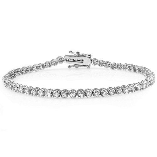 5.00 CT Platinum Plated Clear Round CZ Cubic Zirconia Ladies Tennis Bracelet (2 mm Width x 7.5 inch Length) -