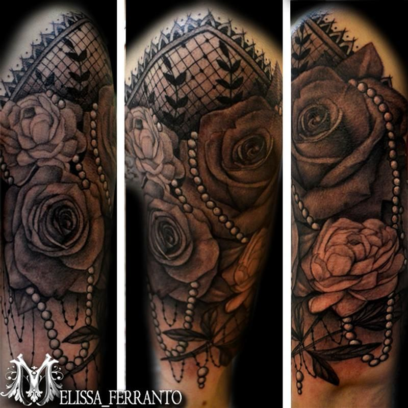 Ferranto Tattoos Flower Rose Peony Pearls And Lace Tattoo