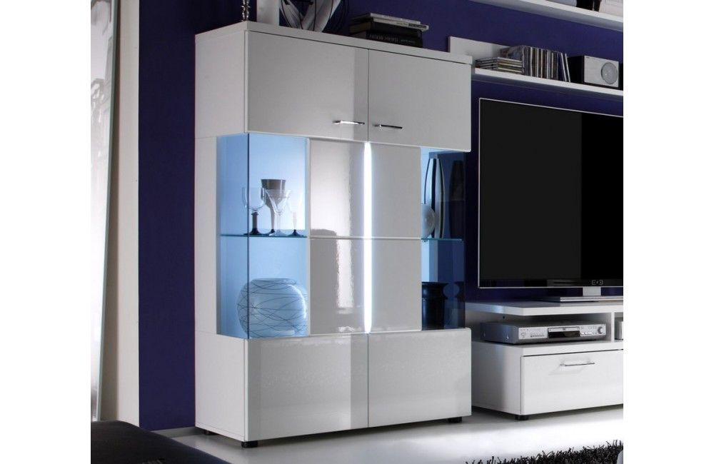 vitrine moderne laquee blanche meuble
