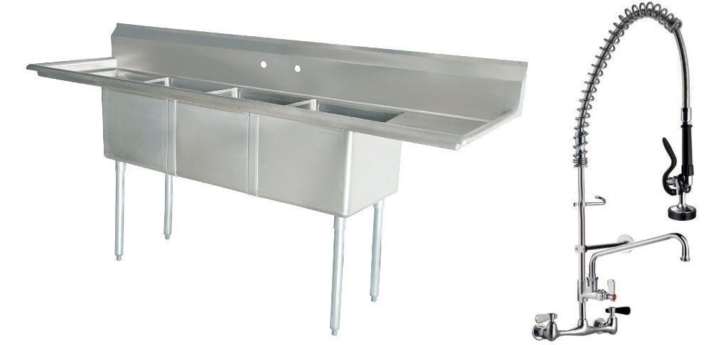 Three Compartment Sink Faucet.Commercial Stainless Steel 3 Three Compartment Sink With