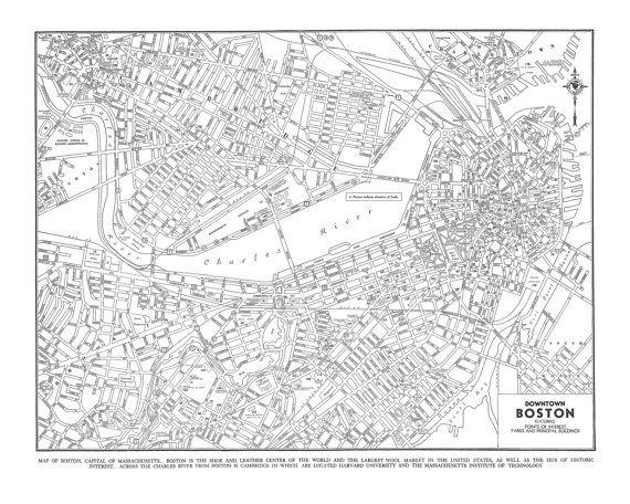 1944 Boston Street Map Gray Vintage Print Poster Boston street