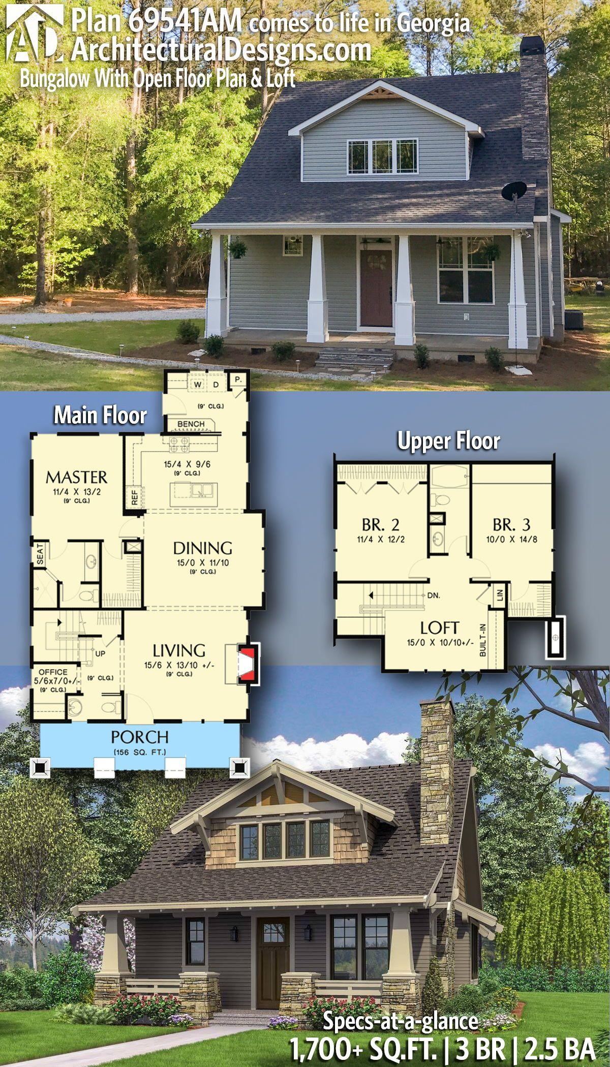 Plan 69541am Bungalow With Open Floor Plan Loft Dream House Plans Floor Plans Craftsman House