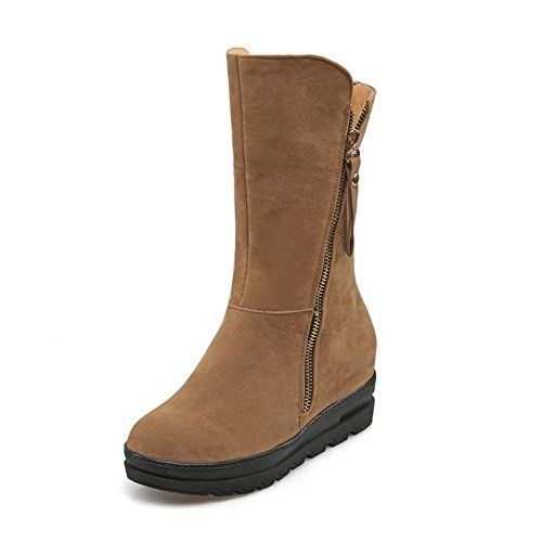 AllhqFashion Womens Zipper KittenHeels Imitated Suede Solid Lowtop Boots Brown 37 * You can get additional details at the image link.(This is an Amazon affiliate link and I receive a commission for the sales)