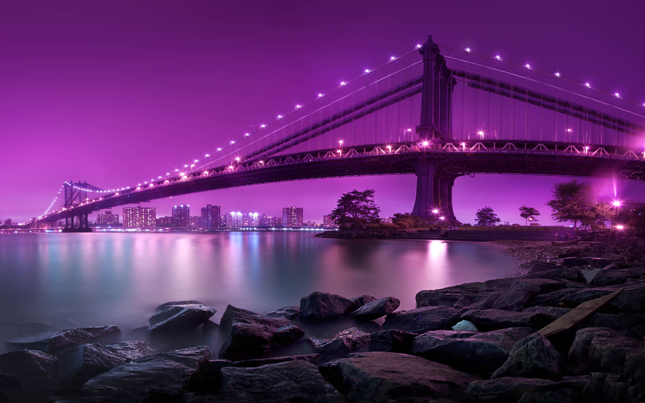 Manhattan Bridge Light The Sky In Purple New York Bridge Wallpaper City Wallpaper New York City Manhattan