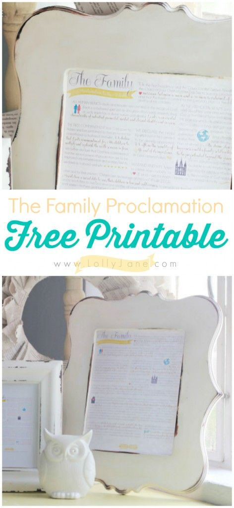 The Family Proclamation, free printable available in multiple colors!    |via @Lauren Jane Jane {lollyjane.com}  #iamamormon #freeprintable #familyproclamation