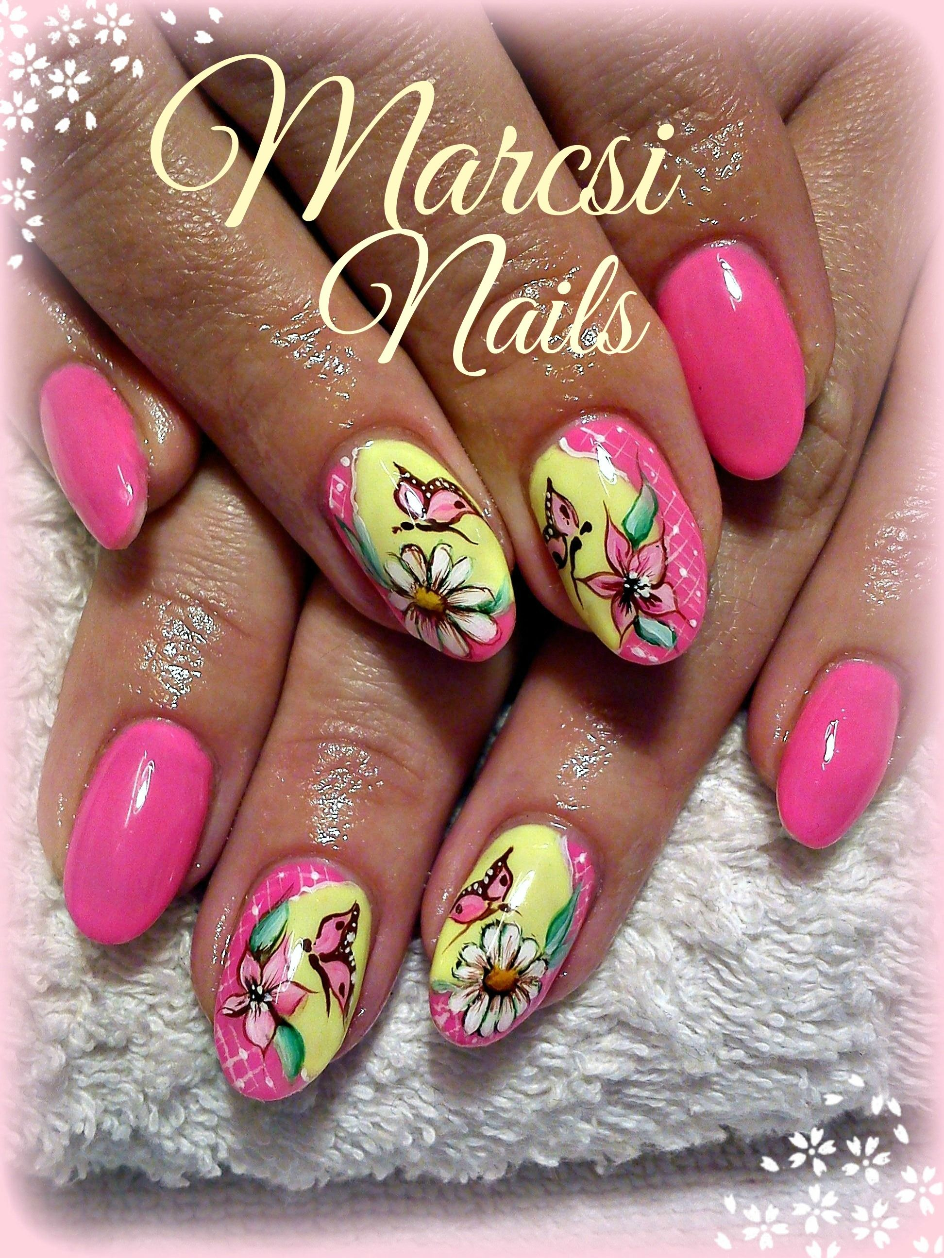 Butterfly And Flower Nail Art Pink Nail Neon Pink And Yellow