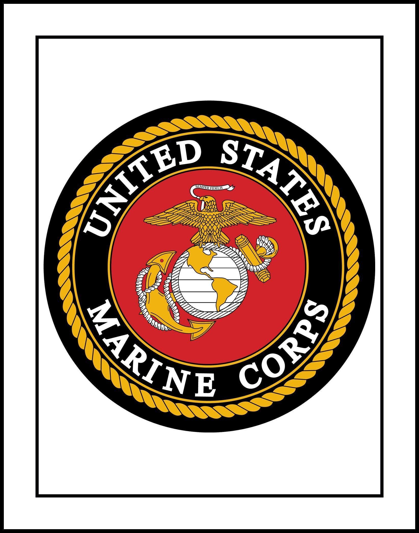 US Marine Corps Black Logo Seal Wall Art Poster, Husband