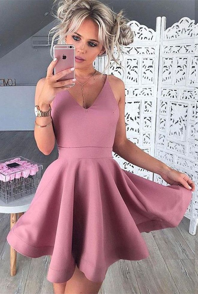 A-Line V-Neck Sleeveless Short Blush Satin Homecoming Dress ...