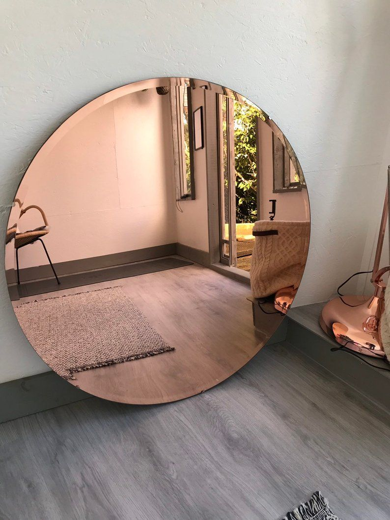 Amazing Large Copper Rose Gold Mirror With Bevelling Around Etsy Tinted Mirror Home Mirror