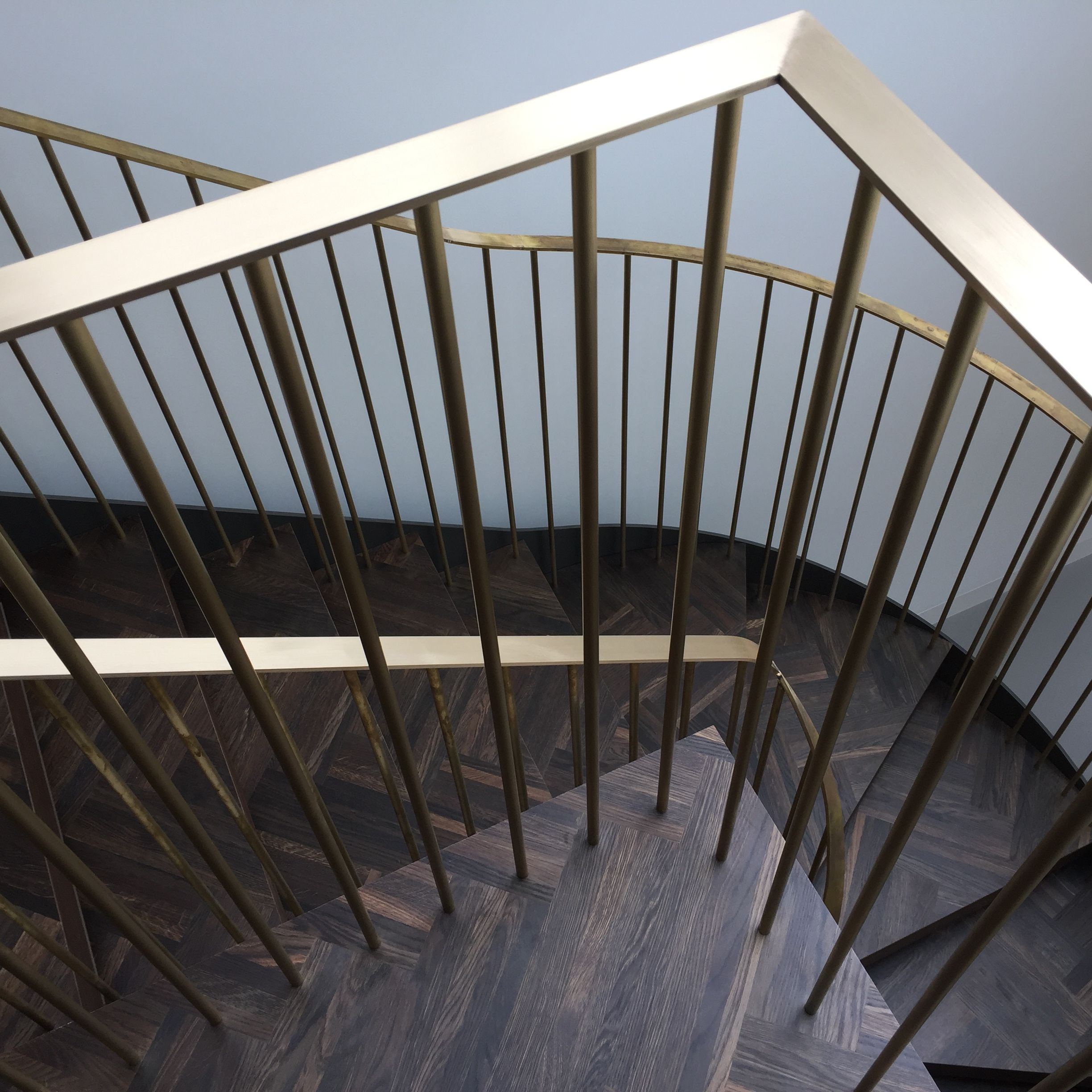 Best Beautiful Semi Spiral Stair With Brass Handrails Made And 400 x 300